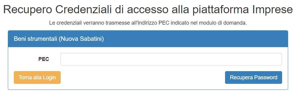 Recupero gredenziali portale MISE